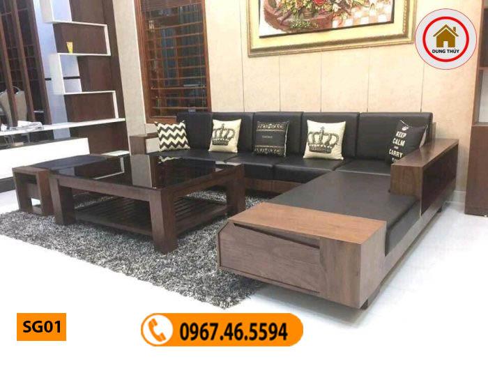 bàn ghế gỗ góc phòng khách SG01