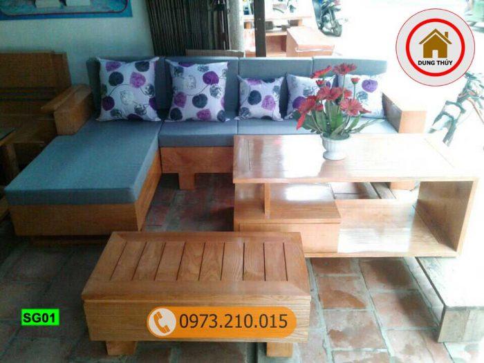 sofa góc chữ L gỗ sồi Nga