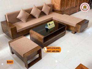 Bộ ghế sofa 2 tay góc chữ L gỗ sồi Nga SG01