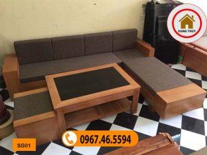 sofa 2 tay góc chữ L gỗ sồi Nga SG01