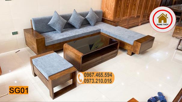 bộ sofa gỗ sồi 2 tay SG01