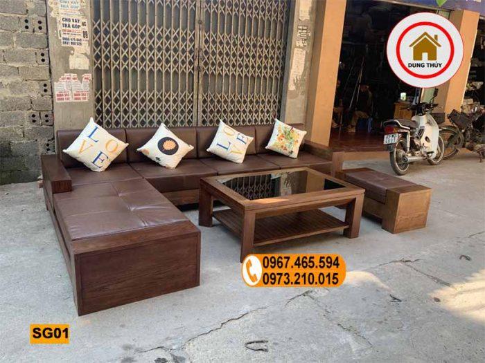 sofa 2 tay gỗ sồi Nga SG01 xịn