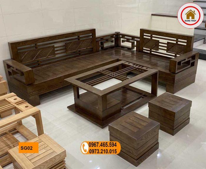 sofa góc Trung gỗ sồi Nga SG02