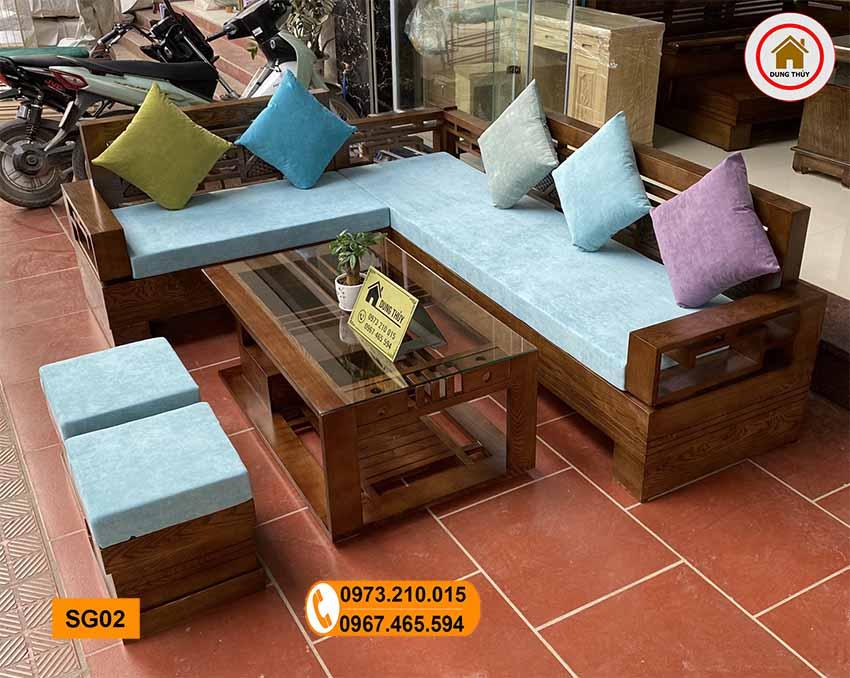 Bộ bàn ghế sofa góc Trung gỗ sồi Nga SG02