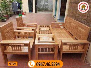 Bộ bàn ghế Phúc Lộc Thọ gỗ sồi Nga giá rẻ GT06