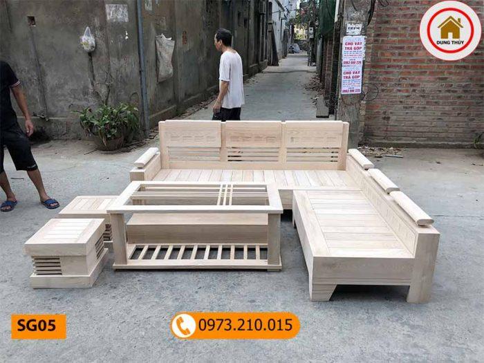 Bộ ghế sofa góc trứng nhỏ gỗ sồi Nga SG05