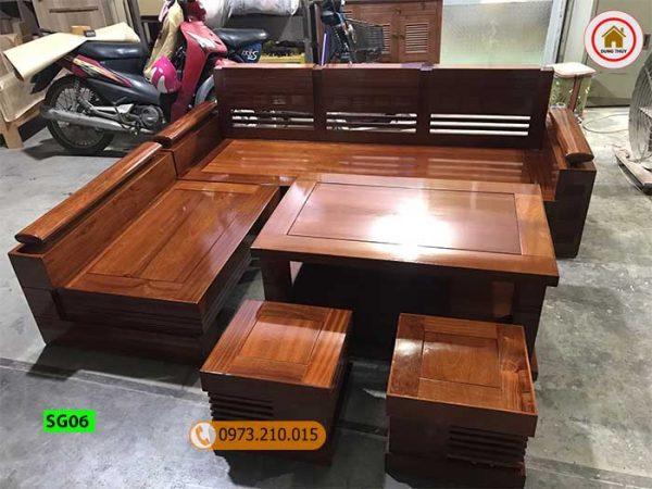 Bộ ghế sofa góc gỗ xoan đào SG06