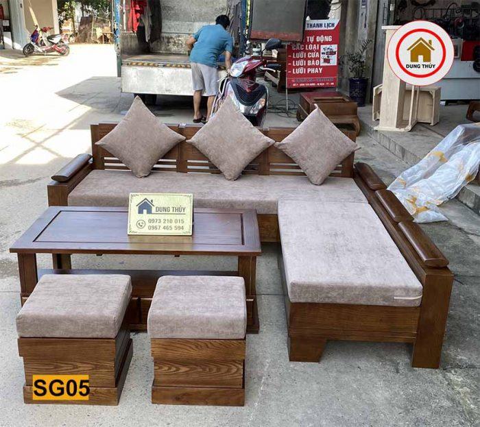 bộ ghế sofa góc trứng nhỏ gỗ sồi SG05