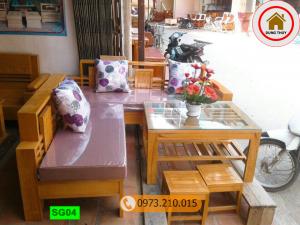 bộ ghế sofa góc nhỏ gỗ sồi Nga SG04
