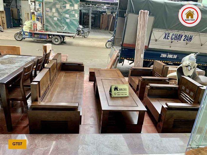 Bộ ghế tựa trứng bộ mặt nan gỗ sồi Nga GT07
