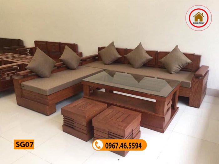 Bộ ghế sofa góc tay trứng to gỗ sồi Nga SG07