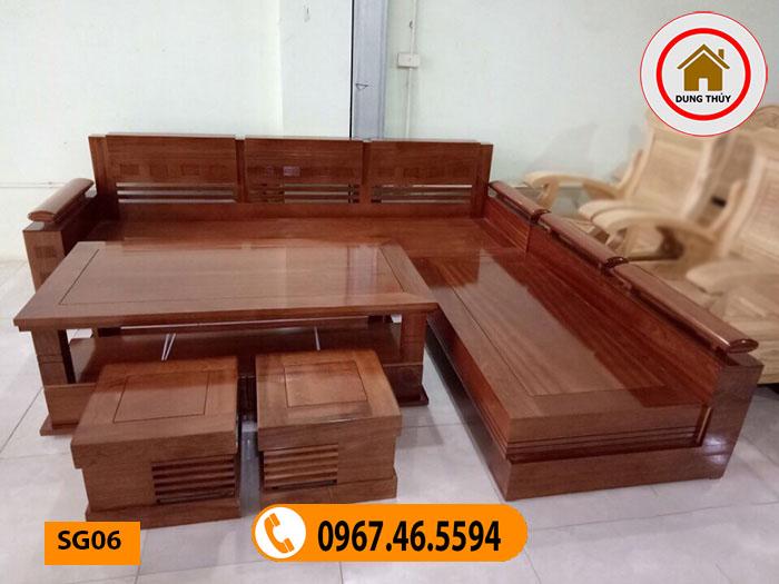 sofa góc trứng gỗ xoan đào đẹp cho phòng khách SG06