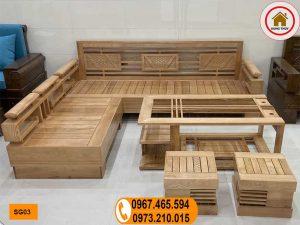 sofa góc cót 3 lá gỗ sồi Nga SG03