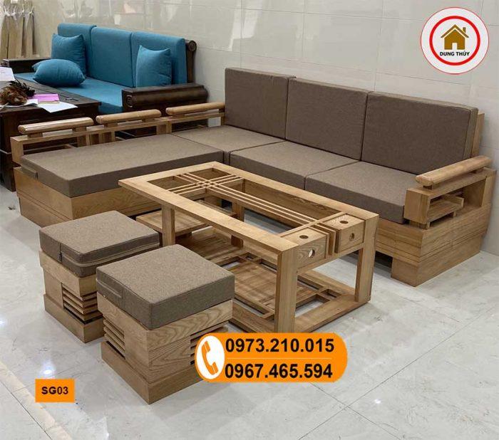 Bộ ghế sofa góc cót 3 lá gỗ sồi Nga SG03