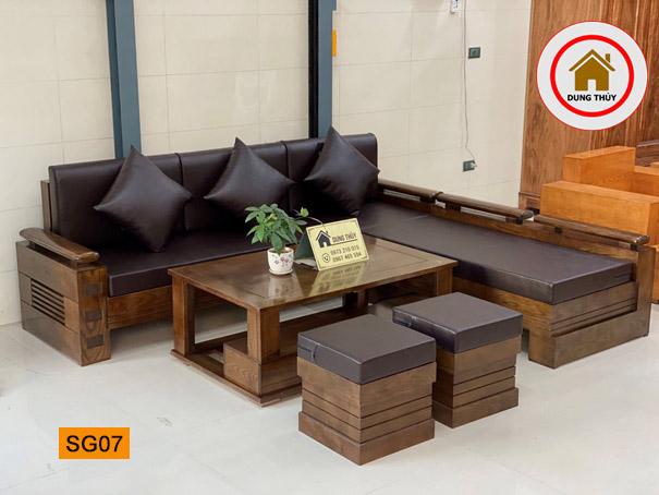 bộ ghế sofa góc trứng to gỗ sồi Nga SG07