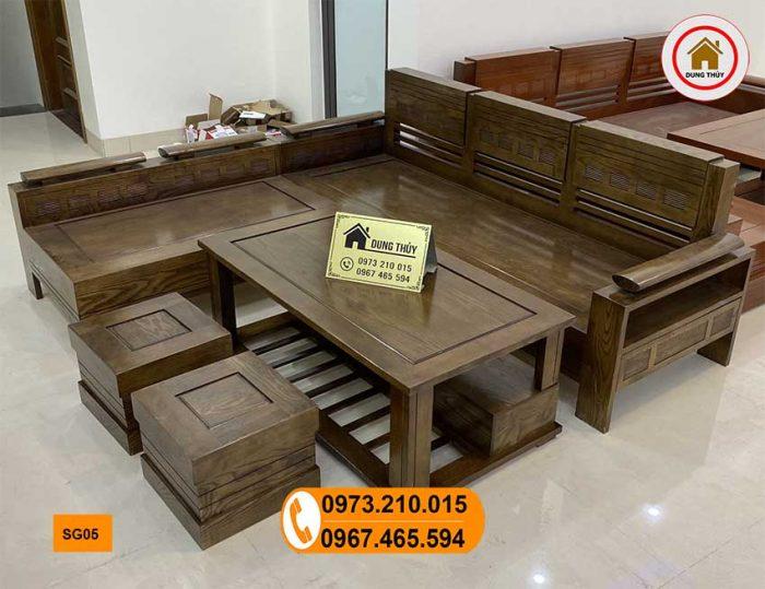 sofa góc trứng gỗ sồi màu óc chó SG05