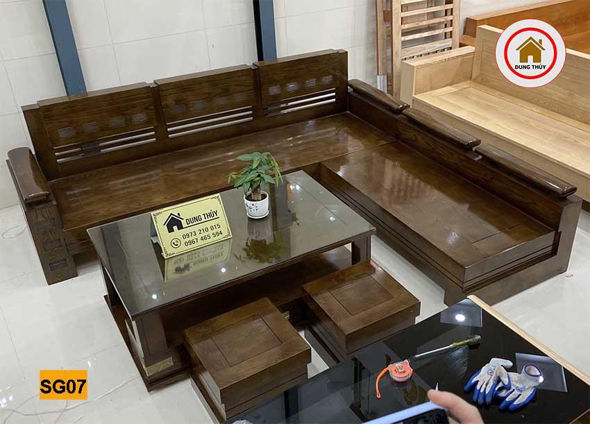 sofa góc trứng to gỗ sồi Nga SG07 đẹp