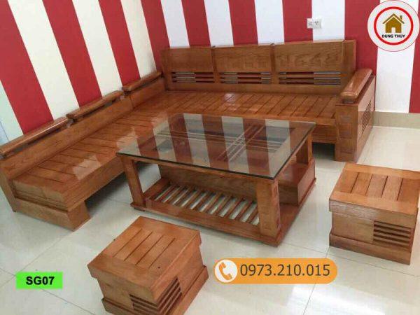 bộ ghế sofa tay chồng trứng gỗ sồi Nga SG07