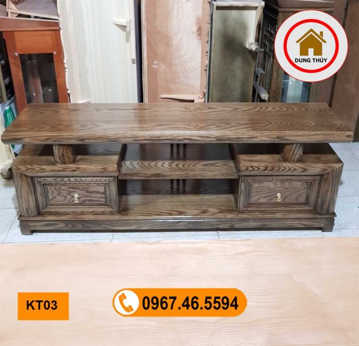 kệ tivi 2 ngăn gỗ sồi Nga KT03