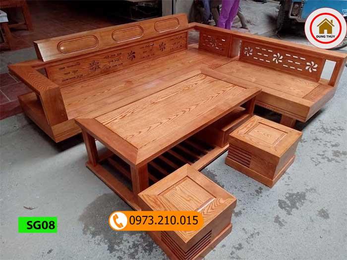 Bộ ghế sofa góc hoa gỗ sồi Nga SG08