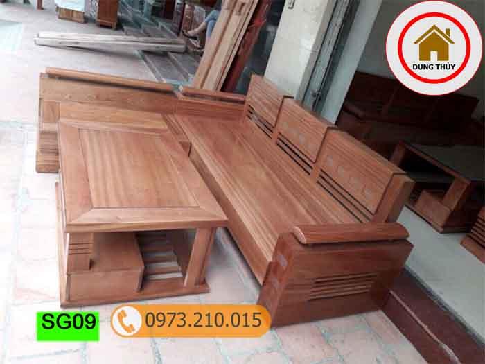 bộ ghế sofa góc tay trứng gỗ xoan đào SG09