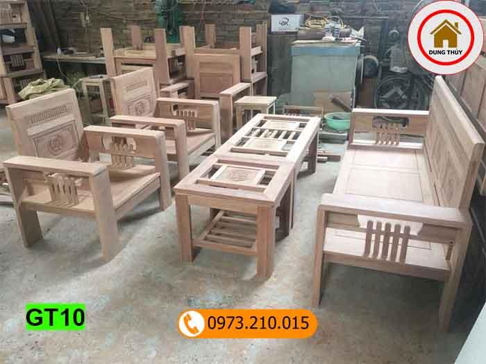 bộ bàn ghế tựa tay 12 gỗ xoan đào GT10