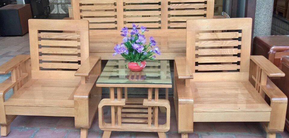 bàn ghế gỗ sồi phòng khách