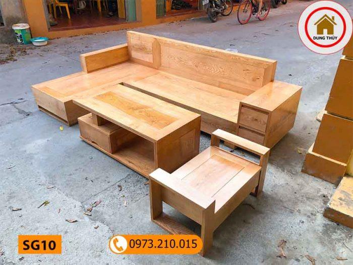 Bộ bàn ghế sofa hộp gỗ sồi Nga SG10