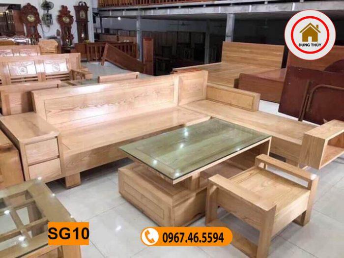 Bộ bàn ghế sofa hộp 2 ngăn kéo gỗ sồi Nga SG10