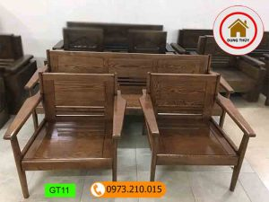 bộ ghế đối gỗ tựa đơn giản gỗ sồi nga gt11