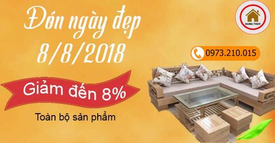 Đón ngày vàng 8/8/2018, giảm giá lên tới 8% toàn bộ sản phẩm