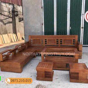 Bộ ghế sofa tay chéo góc lá me gỗ sồi Nga SG12