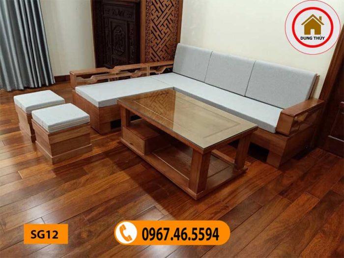 sofa gỗ tự nhiên đẹp phòng khách SG12