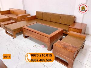 Bộ ghế sofa góc chữ L chân quỳ gỗ đinh hương SG11
