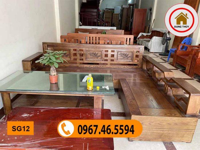 sofa góc khế gỗ sồi Nga mặt liền SG12