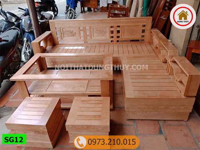 Bộ ghế sofa tay chéo gỗ sồi Nga SG12