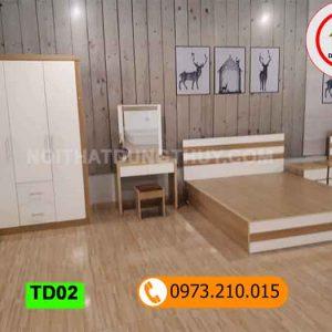 Bàn trang điểm kiểu đơn giản gỗ công nghiệp TD02