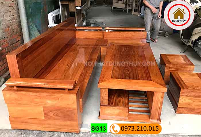 Bộ ghế sofa góc gỗ hương xám SG13