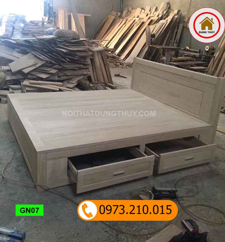 Giường ngủ có ngăn kéo gỗ sồi Nga GN07