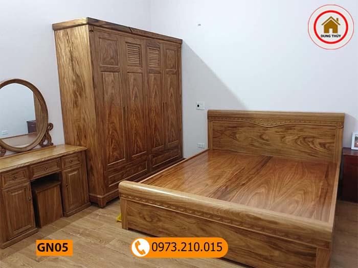 Giường ngủ 2 ngăn kéo gỗ hương xám cao cấp GN05