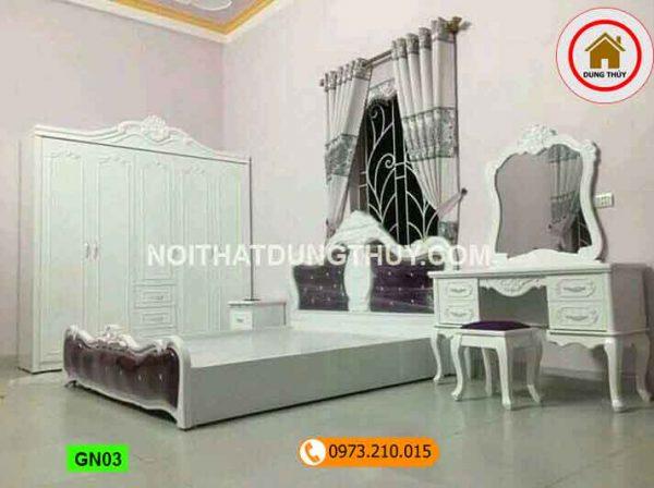 giường ngủ phun sơn trắng GN03