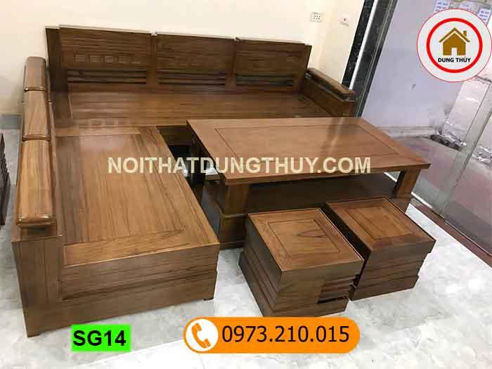 bộ ghế sofa góc trứng gỗ óc chó SG14