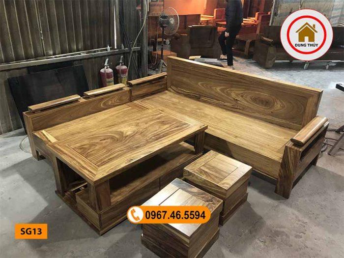 Bộ ghế sofa góc gỗ hương xám vàng SG13
