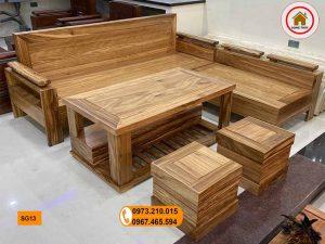 sofa góc trứng gỗ hương xám SG13 đẹp