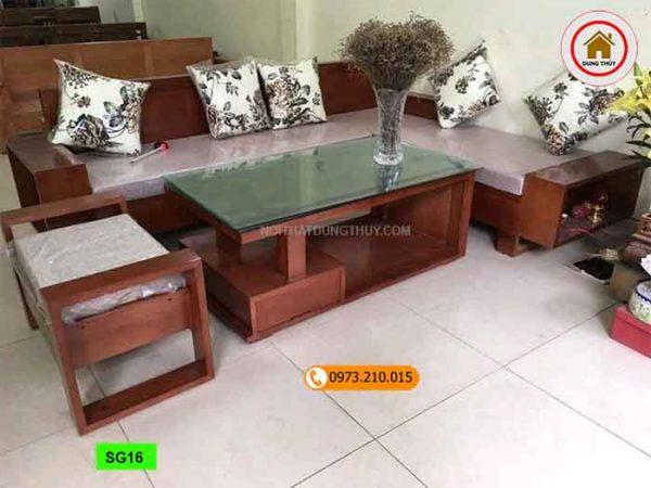 Bộ ghế sofa hộp gỗ xoan đào SG16