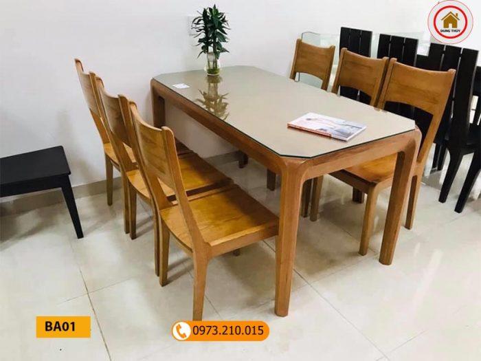 Bàn ăn 6 ghế phong cách đơn giản gỗ sồi Nga BA01