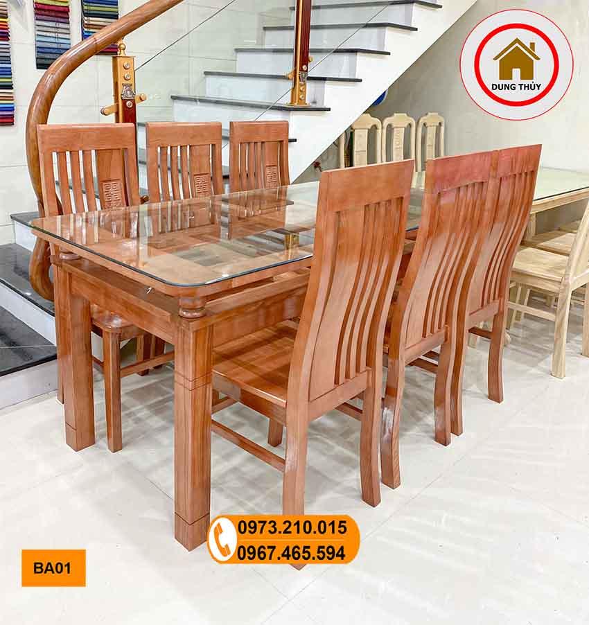bàn ăn 6 ghế gỗ sồi Nga BA01