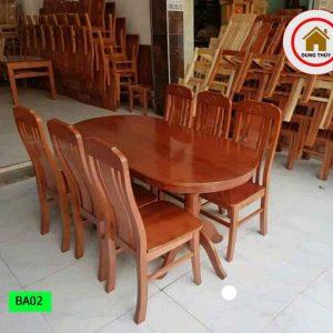 Bàn ăn 6 ghế bầu dục gỗ sồi Nga BA02