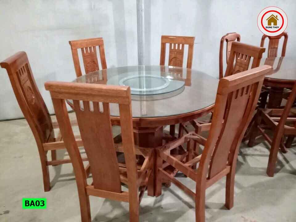 Bộ bàn ghế ăn tròn 6 ghế gỗ sồi Nga BA03