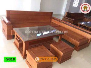 Bộ ghế sofa góc chữ L gỗ đinh hương SG18